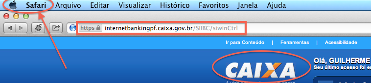Internet Banking da Caixa no Safari