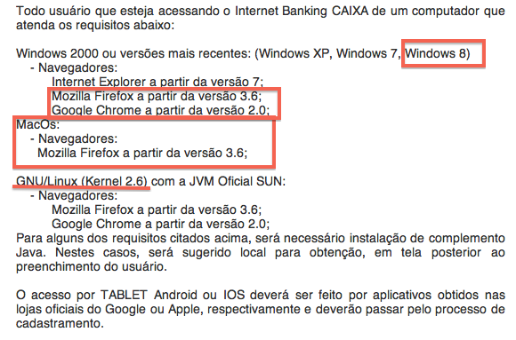 Requisitos Internet Banking Caixa