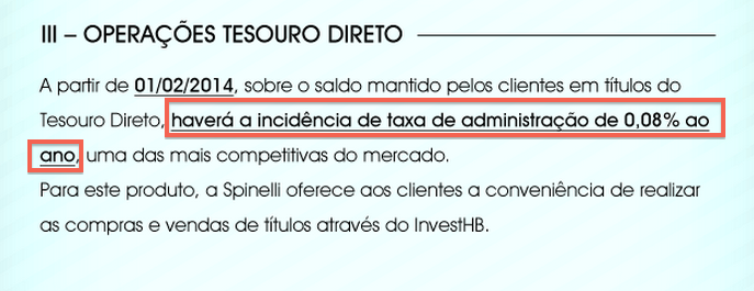 Spinelli - Taxa Tesouro Direto